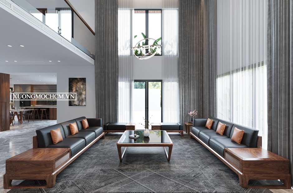 Hình ảnh sofa gỗ óc chó cho phòng khách rộng